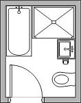 Floorplan for small main bathroom for Bathroom design 2m x 2m
